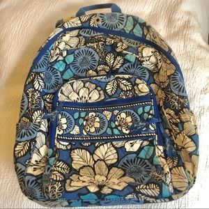 Vera Bradley Blue Bayou Floral XL Campus Backpack